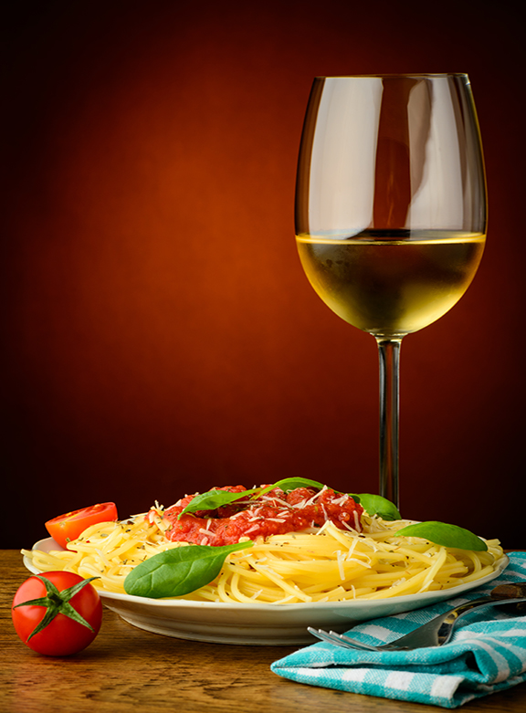 Italian Pasta And White Wine